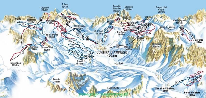 mapa Cortina d'Ampezzo