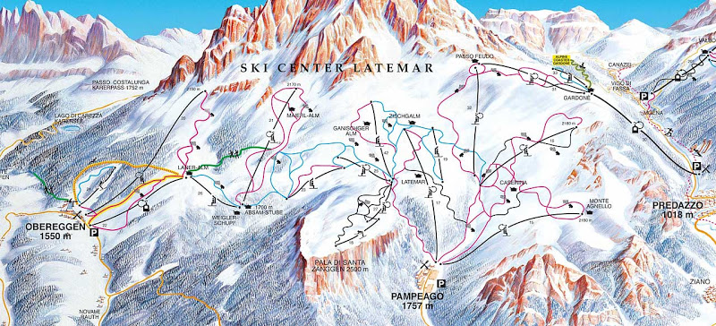 ski center latemar mapa