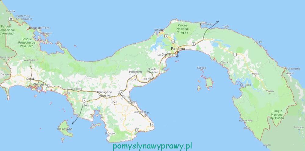 Panama trasa podróży