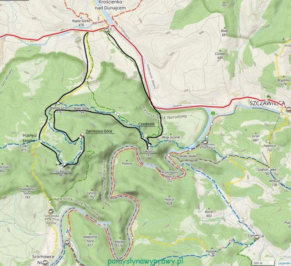 Pieniny Trzy Korony Sokolica szlak mapa