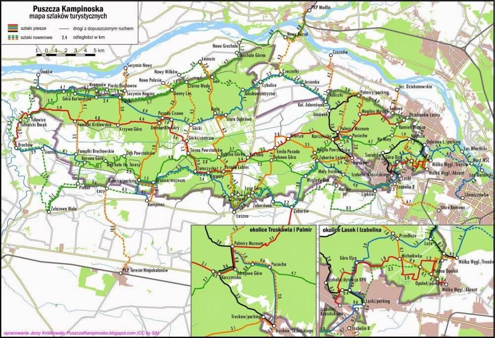 kampinos mapa szlaków