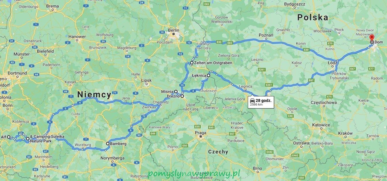 Niemcy mapa trasy