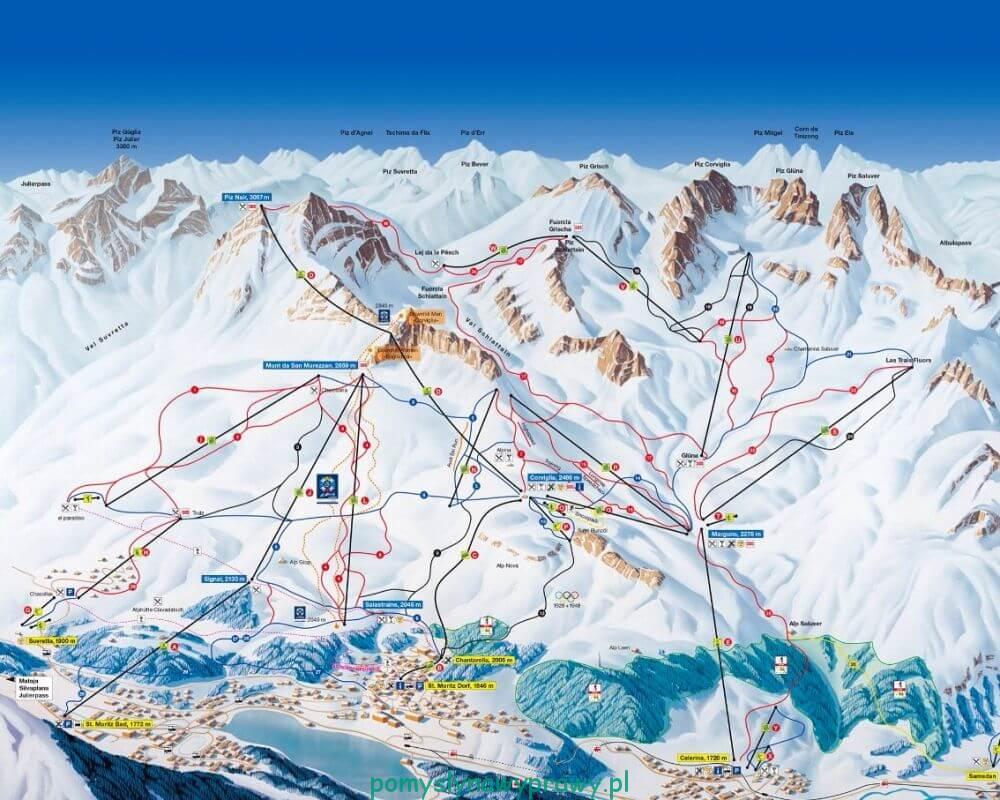 Corviglia skiingmap