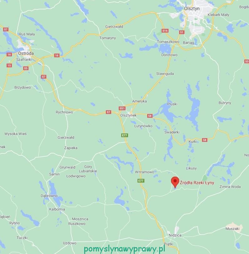 Rezerwat Źródła Rzeki Łyny mapa