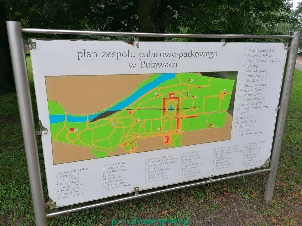Plan zespołu pałacowo-parkowego w Puławach